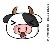cheerful cow head wild animal | Shutterstock .eps vector #1018118311