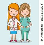 professional women doctors with ... | Shutterstock .eps vector #1018121275