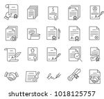 simple set of contract related... | Shutterstock .eps vector #1018125757