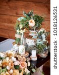 table decor with white flowers... | Shutterstock . vector #1018126531