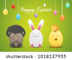 happy easter card with easter... | Shutterstock .eps vector #1018137955
