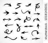 hand drawn arrows  vector set | Shutterstock .eps vector #1018143031