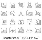 simple set of blueprint related ... | Shutterstock .eps vector #1018144567