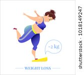 happy plus size woman on scales ... | Shutterstock .eps vector #1018149247