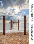 west pier in brighton with... | Shutterstock . vector #1018149409
