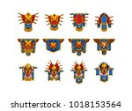 set of cartoon coat of arms for ...