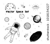 vector black and white space... | Shutterstock .eps vector #1018154227