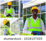collage of worker inspector in... | Shutterstock . vector #1018157335