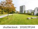 modern apartment buildings in a ... | Shutterstock . vector #1018159144