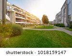 modern apartment buildings in a ... | Shutterstock . vector #1018159147