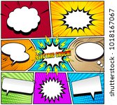 comic book page background with ... | Shutterstock .eps vector #1018167067