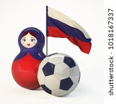 babushka doll with football ... | Shutterstock . vector #1018167337