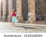 beautiful young woman dancing... | Shutterstock . vector #1018168504