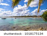 beautiful beach on the... | Shutterstock . vector #1018175134