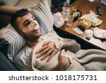 young man recovering form... | Shutterstock . vector #1018175731