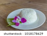 cooked rice on white dish...   Shutterstock . vector #1018178629