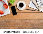 office stuff with laptop blank... | Shutterstock . vector #1018183414