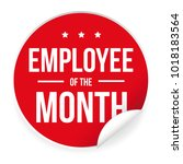 employee of the month label... | Shutterstock .eps vector #1018183564