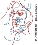 two faces  continuous line  ... | Shutterstock .eps vector #1018185397