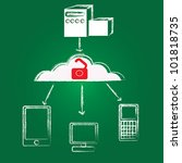 unlock cloud computing vector | Shutterstock .eps vector #101818735