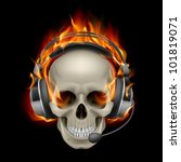 Flaming Skull with headphones. Illustration on black background - stock vector