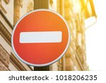 stop traffic sign. white brick... | Shutterstock . vector #1018206235
