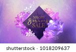 8 march sale background with... | Shutterstock .eps vector #1018209637
