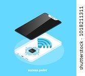 access point  modern smartphone ... | Shutterstock .eps vector #1018211311