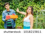 close up of blurred man holding ... | Shutterstock . vector #1018215811
