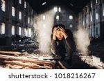 sad depressed person in... | Shutterstock . vector #1018216267