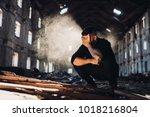 sad depressed person in... | Shutterstock . vector #1018216804