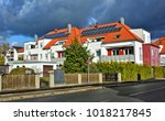 residential house with solar... | Shutterstock . vector #1018217845