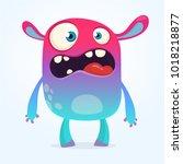 cute furry blue monster. vector ... | Shutterstock .eps vector #1018218877