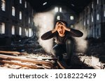 screaming anxious person in...   Shutterstock . vector #1018222429