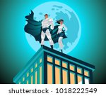 superhero couple. superman and... | Shutterstock .eps vector #1018222549