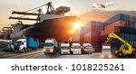logistics and transportation of ... | Shutterstock . vector #1018225261