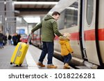 little boy and his father go in ... | Shutterstock . vector #1018226281