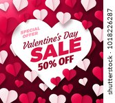 valentines day sale background... | Shutterstock .eps vector #1018226287