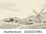 retro countryside scenery ...   Shutterstock .eps vector #1018231981