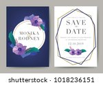 set of wedding card template... | Shutterstock .eps vector #1018236151