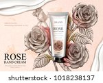 rose hand cream ads  exquisite... | Shutterstock .eps vector #1018238137