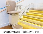 automatic stair lift on... | Shutterstock . vector #1018243141