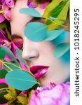 beauty portrait. beautiful... | Shutterstock . vector #1018245295