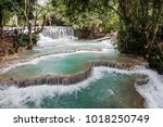 kuang si waterfall  or known as ... | Shutterstock . vector #1018250749