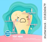 tooth with decay problem on the ... | Shutterstock .eps vector #1018260679