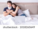 loving wife taking care of... | Shutterstock . vector #1018263649