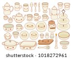 collection of lovely table ware ... | Shutterstock .eps vector #1018272961