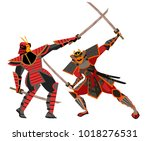 samurai duel fight | Shutterstock .eps vector #1018276531