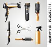 set of hairdresser tools... | Shutterstock .eps vector #1018281745