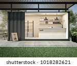 Container Cafe In Garden 3d...